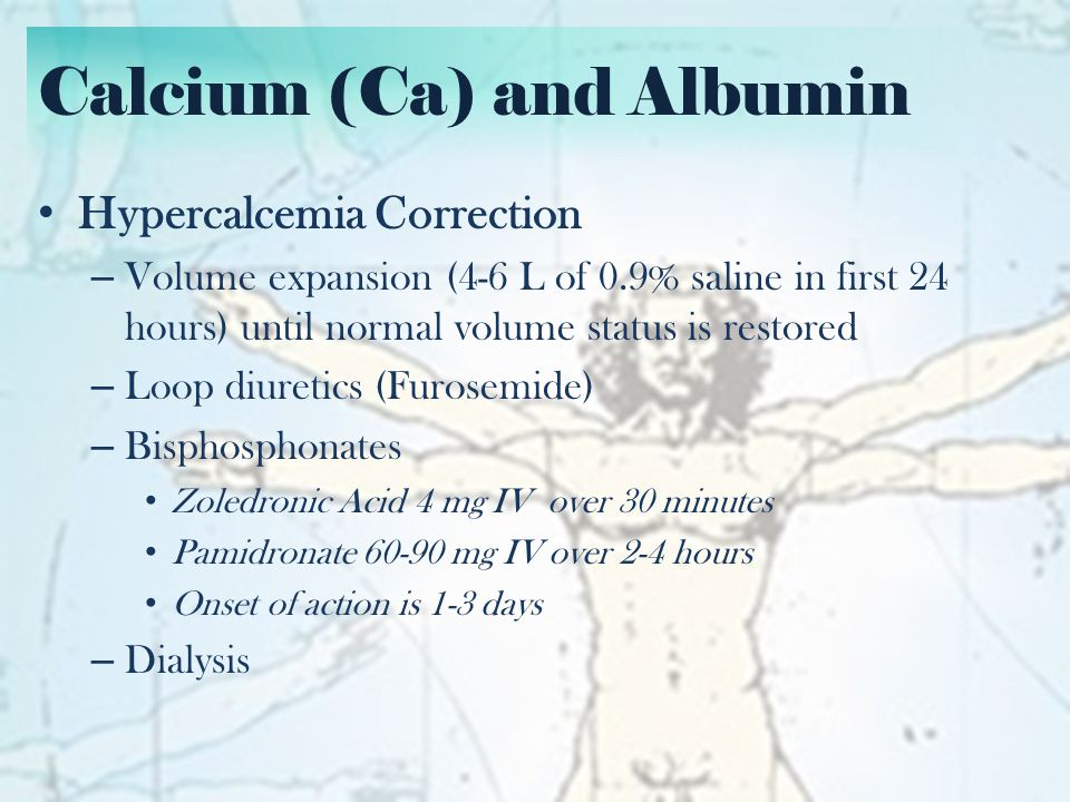 Calcium (Ca) and Albumin