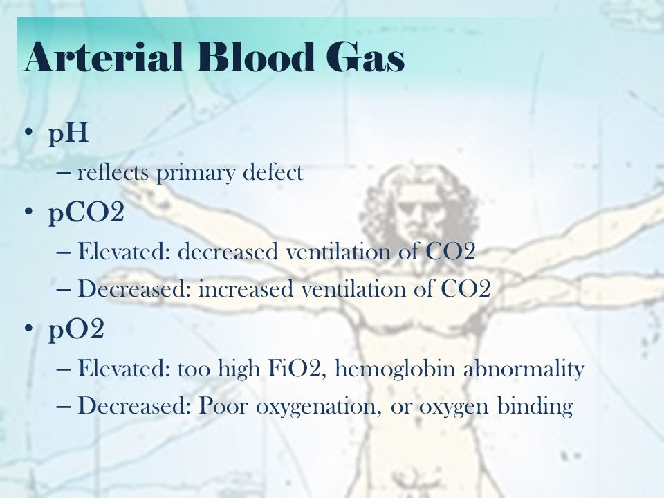 Arterial Blood Gas pH pCO2 pO2 reflects primary defect