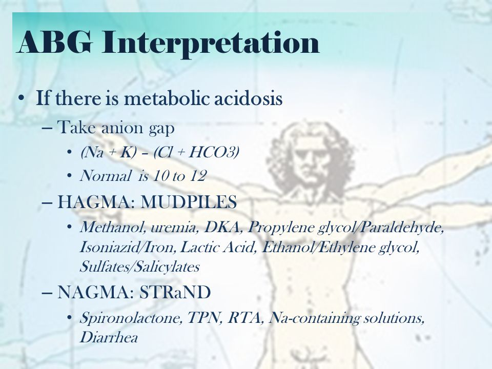 ABG Interpretation If there is metabolic acidosis Take anion gap