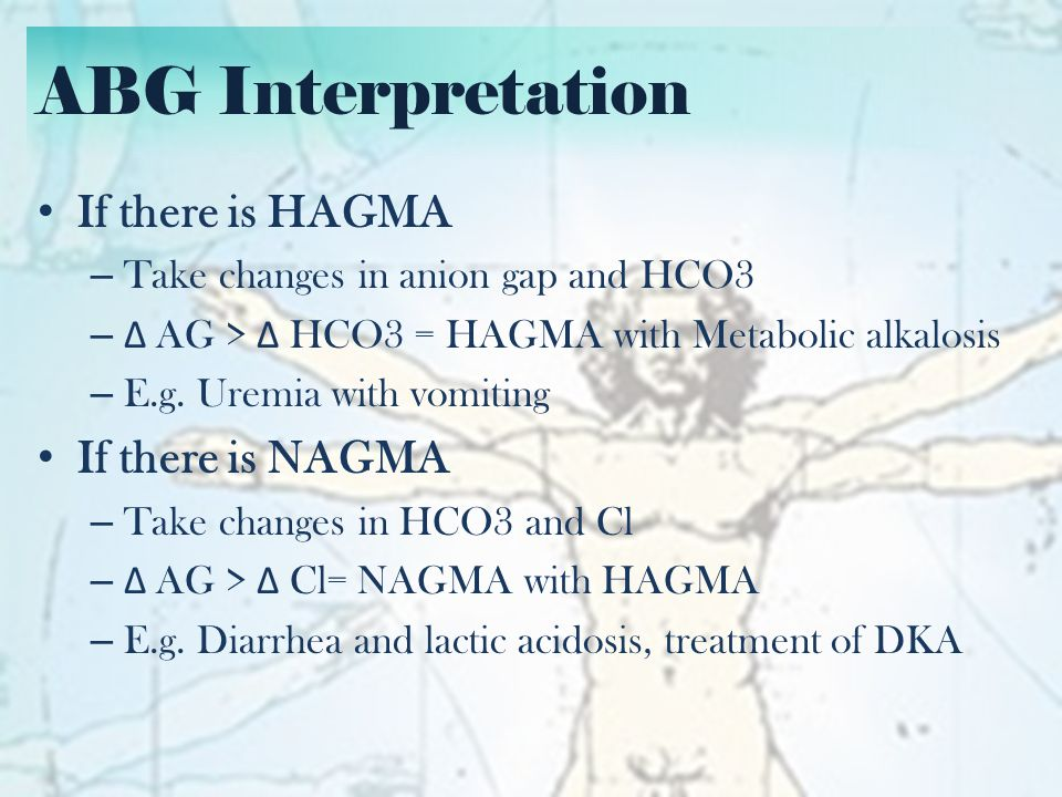 ABG Interpretation If there is HAGMA If there is NAGMA