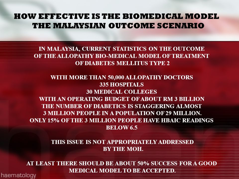 HOW EFFECTIVE IS THE BIOMEDICAL MODEL THE MALAYSIAN OUTCOME SCENARIO