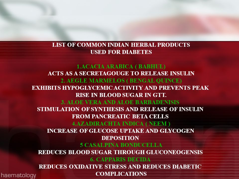LIST OF COMMON INDIAN HERBAL PRODUCTS USED FOR DIABETES