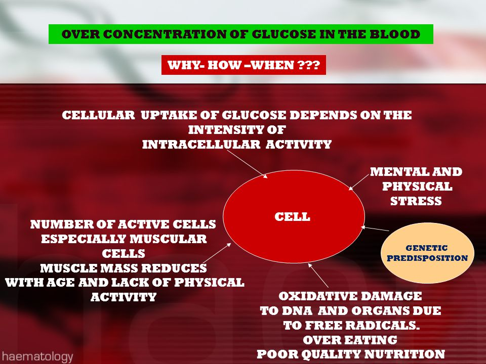 OVER CONCENTRATION OF GLUCOSE IN THE BLOOD