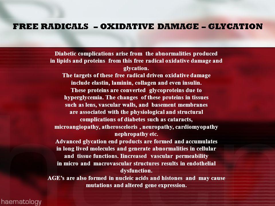FREE RADICALS – OXIDATIVE DAMAGE – GLYCATION
