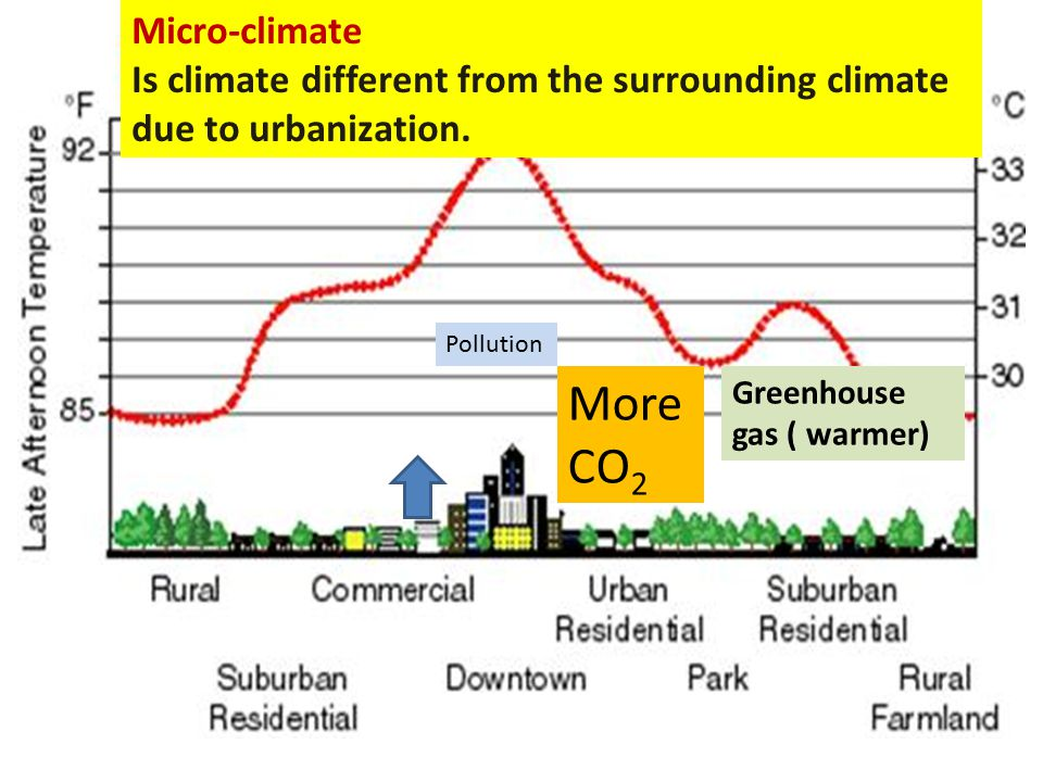 Micro-climate Is climate different from the surrounding climate due to urbanization. Pollution. More CO2.