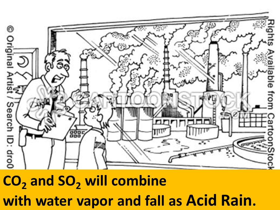 with water vapor and fall as Acid Rain.