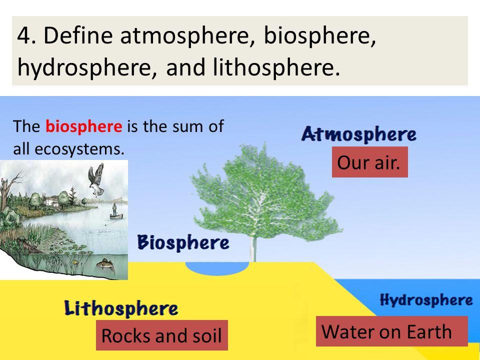 4. Define atmosphere, biosphere, hydrosphere, and lithosphere.