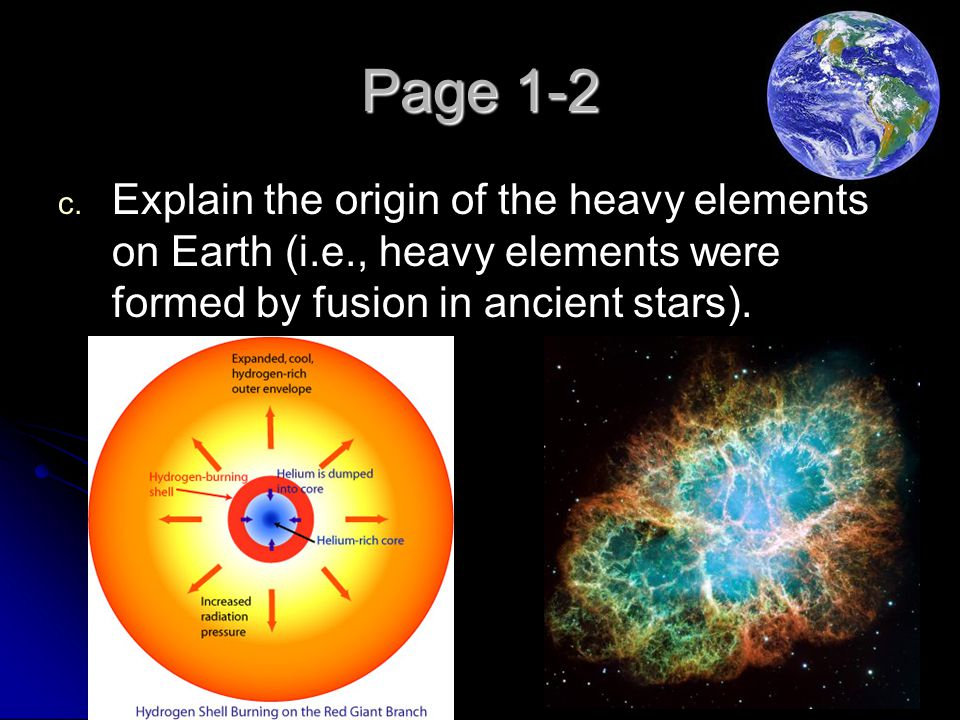 Page 1-2 Explain the origin of the heavy elements on Earth (i.e., heavy elements were formed by fusion in ancient stars).