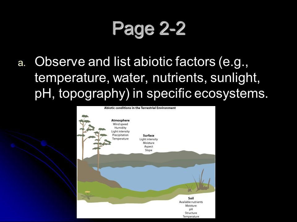 Page 2-2 Observe and list abiotic factors (e.g., temperature, water, nutrients, sunlight, pH, topography) in specific ecosystems.