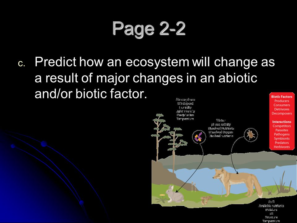 Page 2-2 Predict how an ecosystem will change as a result of major changes in an abiotic and/or biotic factor.