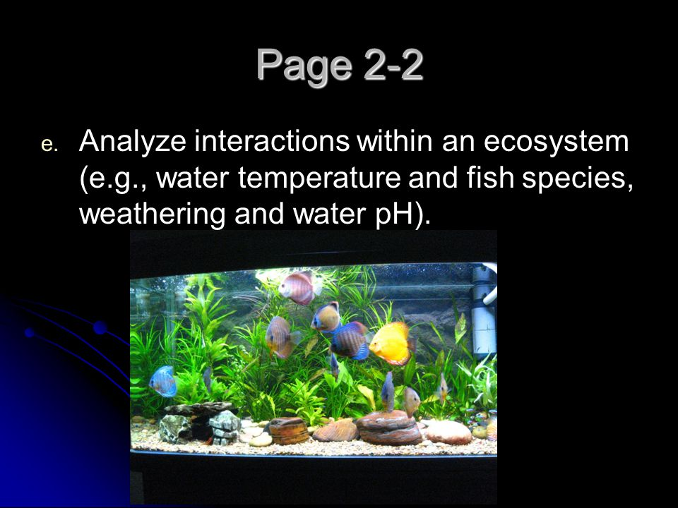 Page 2-2 Analyze interactions within an ecosystem (e.g., water temperature and fish species, weathering and water pH).