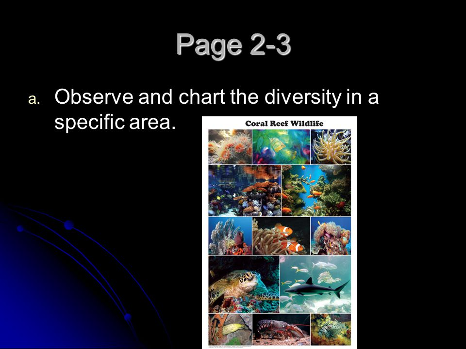 Page 2-3 Observe and chart the diversity in a specific area.