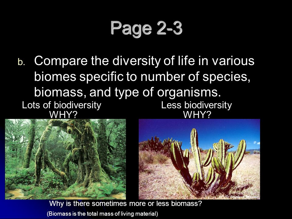 Page 2-3 Compare the diversity of life in various biomes specific to number of species, biomass, and type of organisms.
