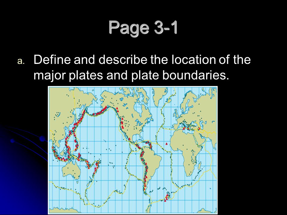 Page 3-1 Define and describe the location of the major plates and plate boundaries.