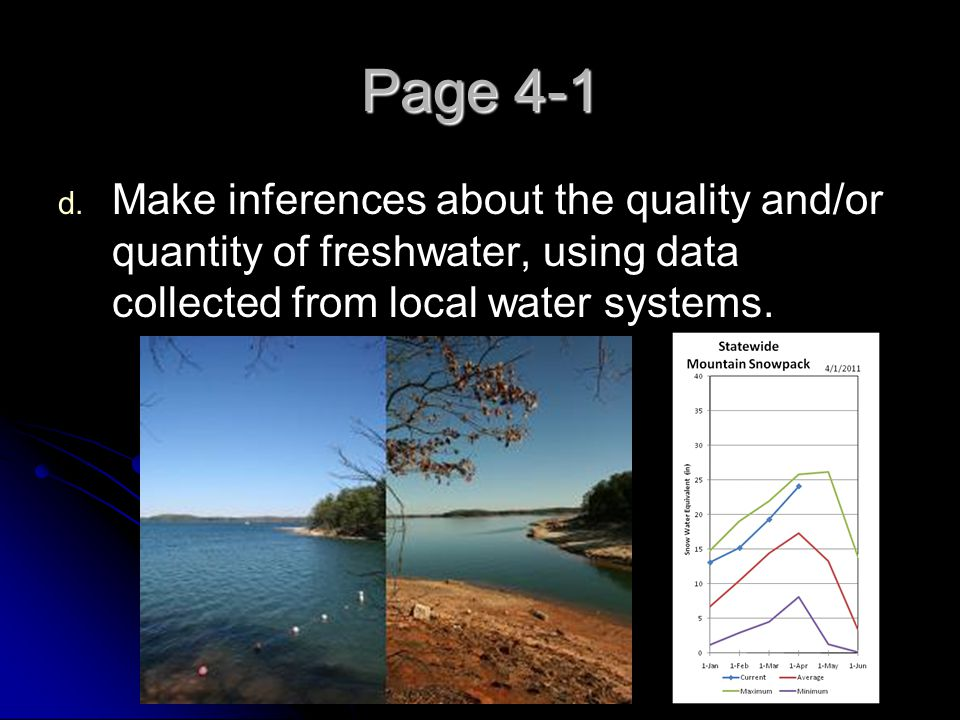 Page 4-1 Make inferences about the quality and/or quantity of freshwater, using data collected from local water systems.