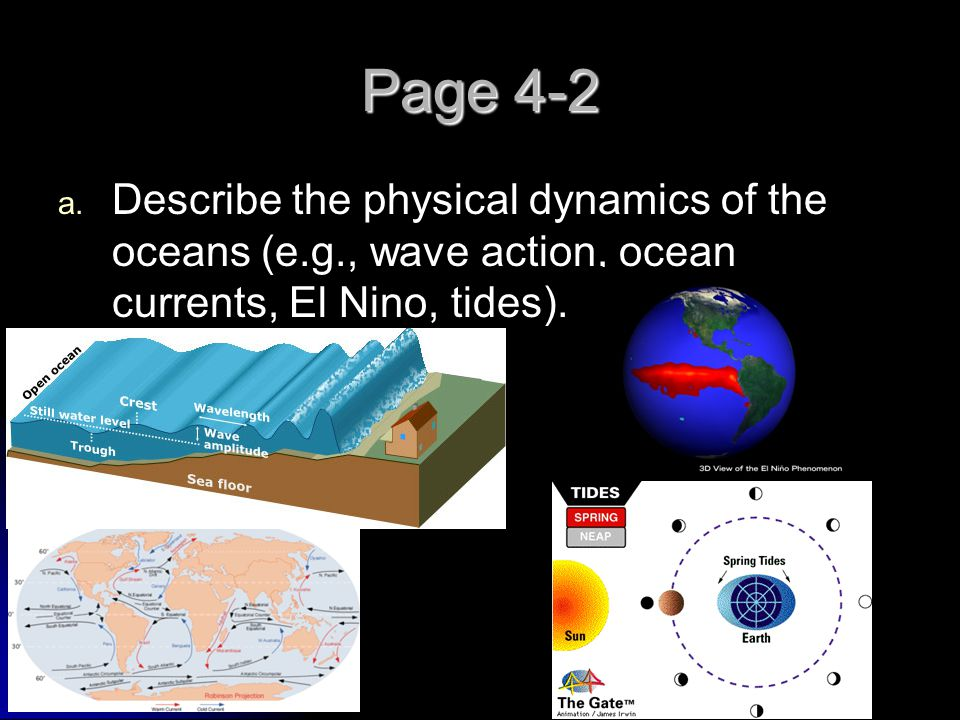 Page 4-2 Describe the physical dynamics of the oceans (e.g., wave action, ocean currents, El Nino, tides).