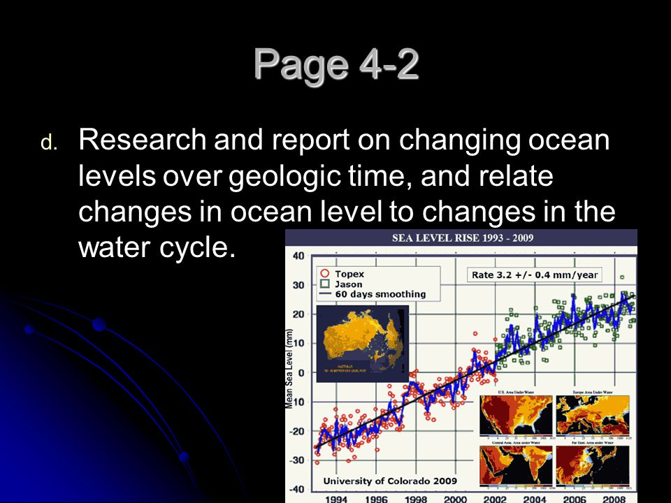 Page 4-2 Research and report on changing ocean levels over geologic time, and relate changes in ocean level to changes in the water cycle.