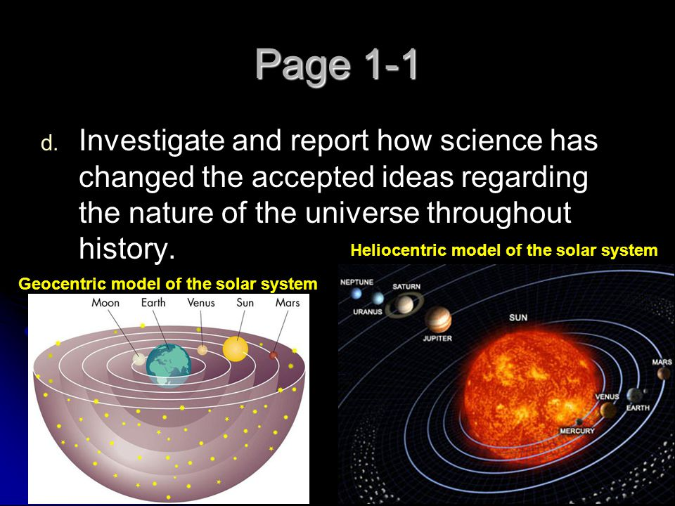 Page 1-1 Investigate and report how science has changed the accepted ideas regarding the nature of the universe throughout history.