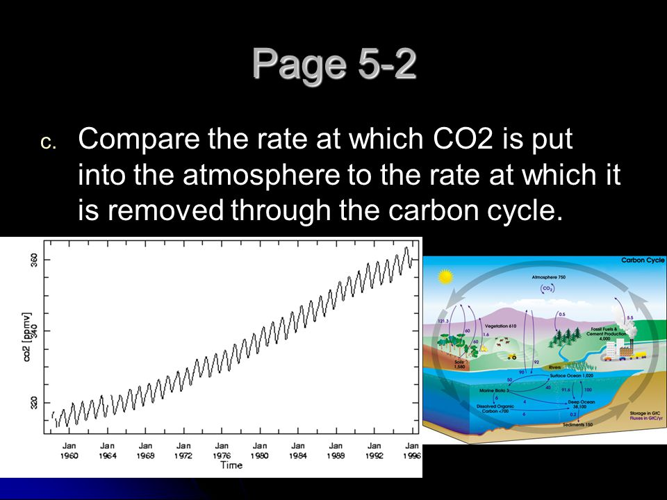 Page 5-2 Compare the rate at which CO2 is put into the atmosphere to the rate at which it is removed through the carbon cycle.