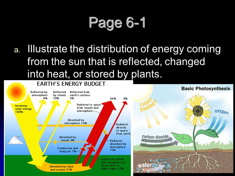 Page 6-1 Illustrate the distribution of energy coming from the sun that is reflected, changed into heat, or stored by plants.