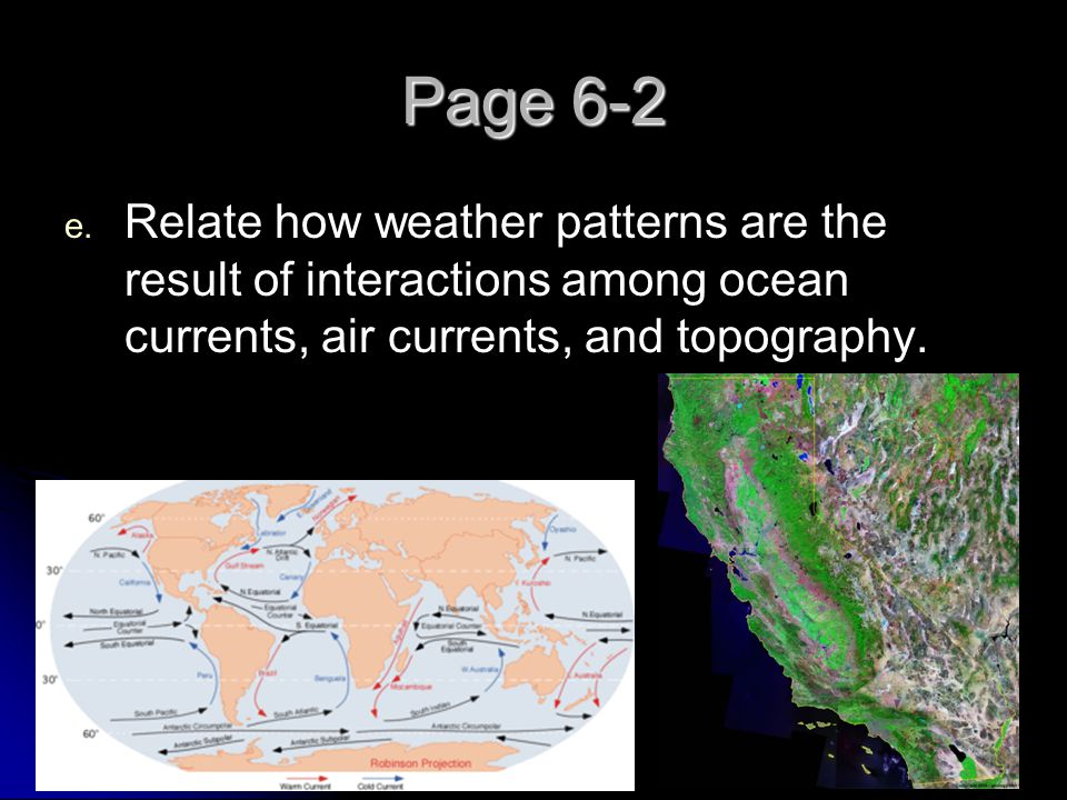 Page 6-2 Relate how weather patterns are the result of interactions among ocean currents, air currents, and topography.
