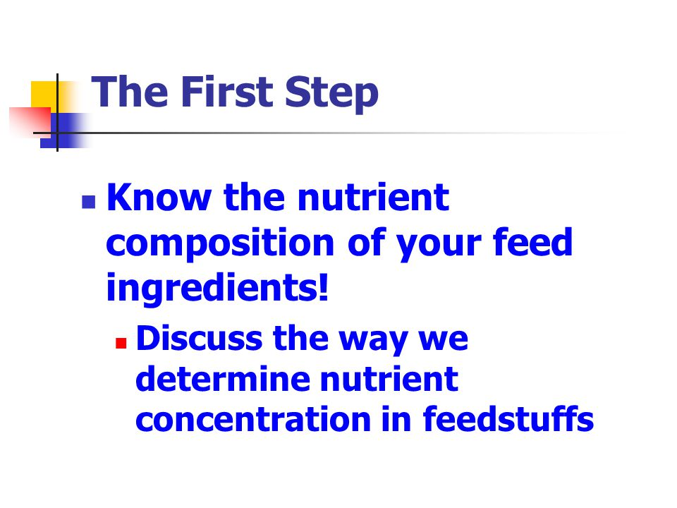 The First Step Know the nutrient composition of your feed ingredients!