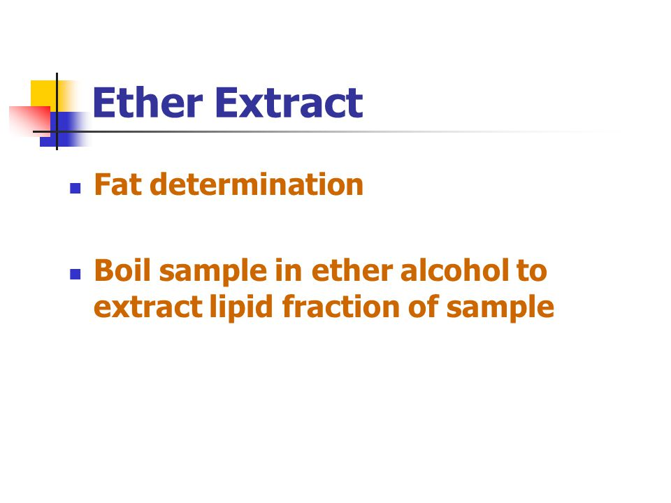 Ether Extract Fat determination