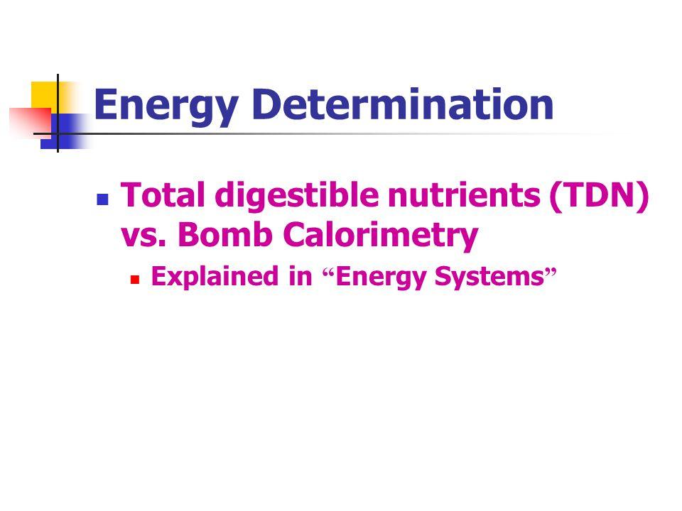 Energy Determination Total digestible nutrients (TDN) vs.