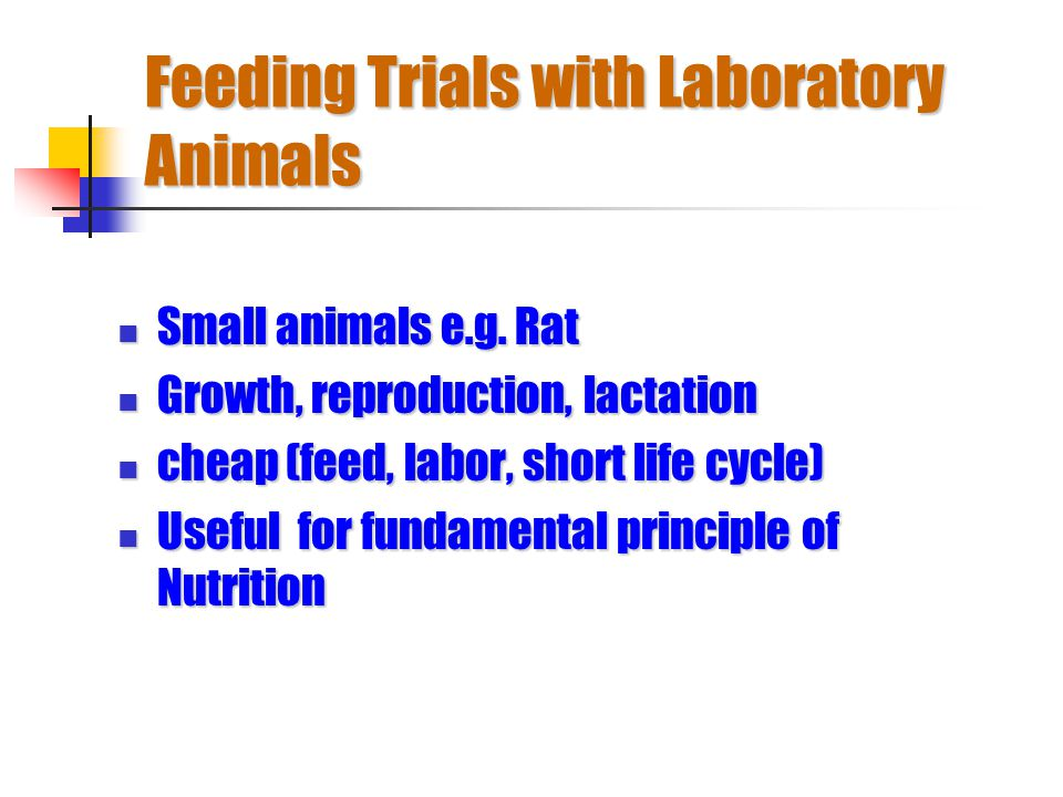 Feeding Trials with Laboratory Animals