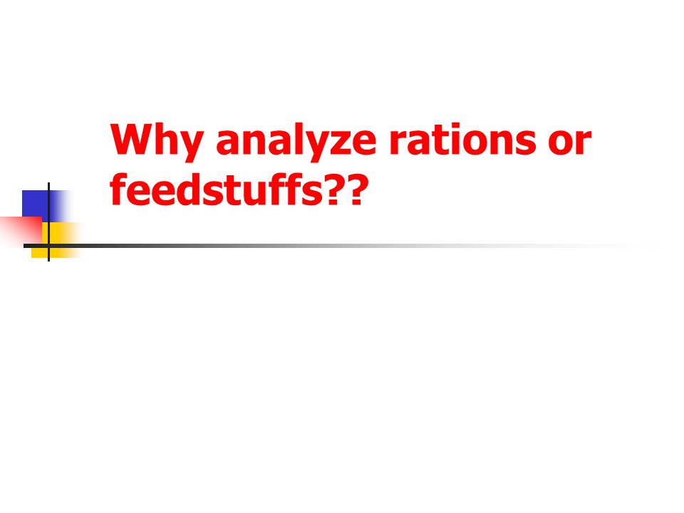 Why analyze rations or feedstuffs