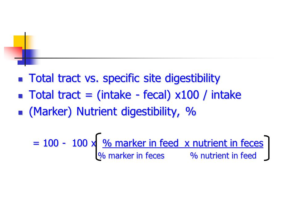Use of marker to estimate digestibility