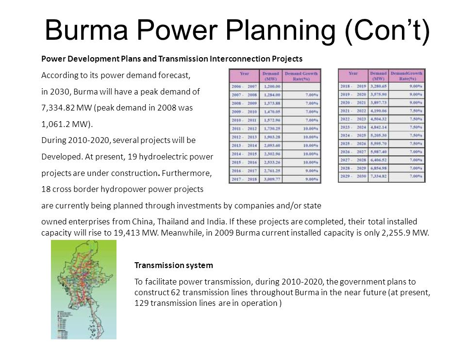 Burma Power Planning (Con't)