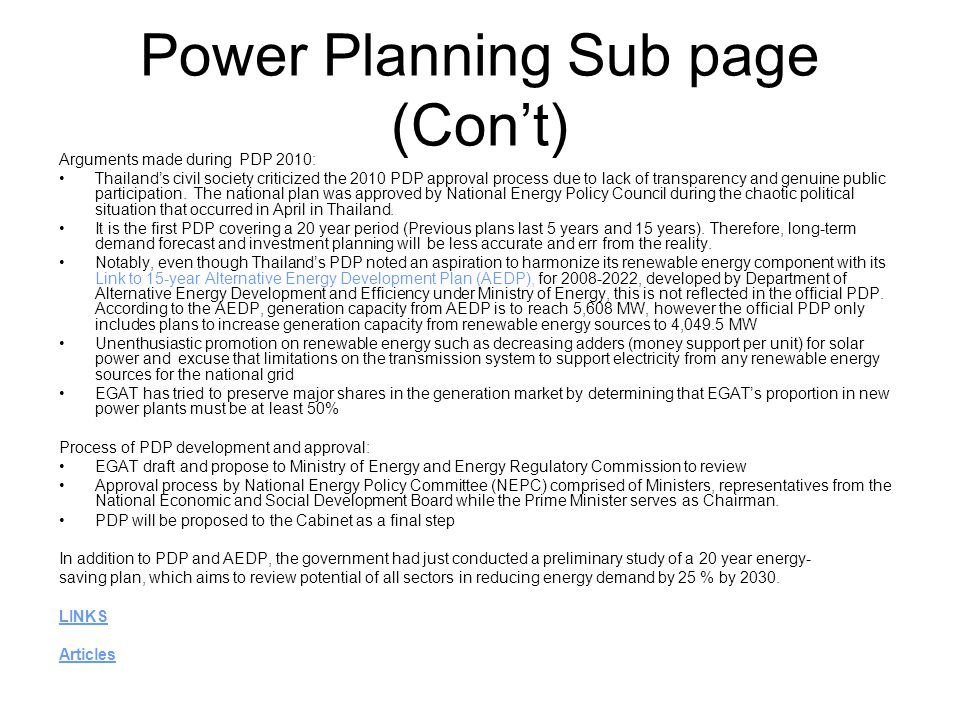 Power Planning Sub page (Con't)