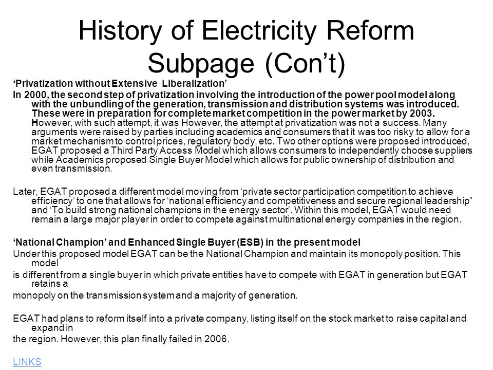 History of Electricity Reform Subpage (Con't)
