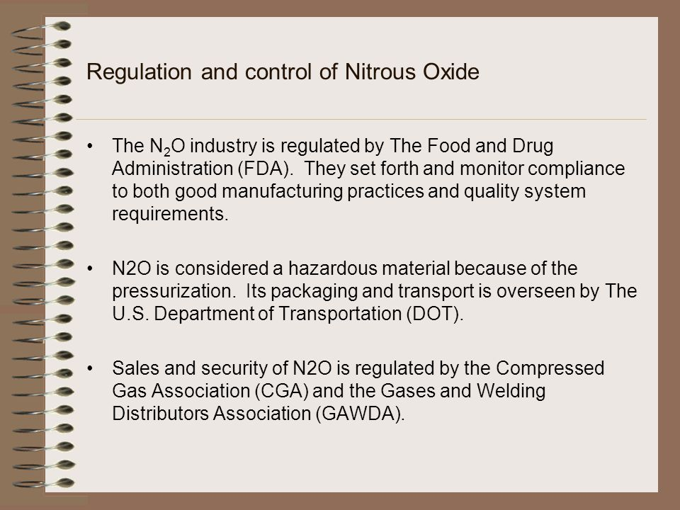 Regulation and control of Nitrous Oxide