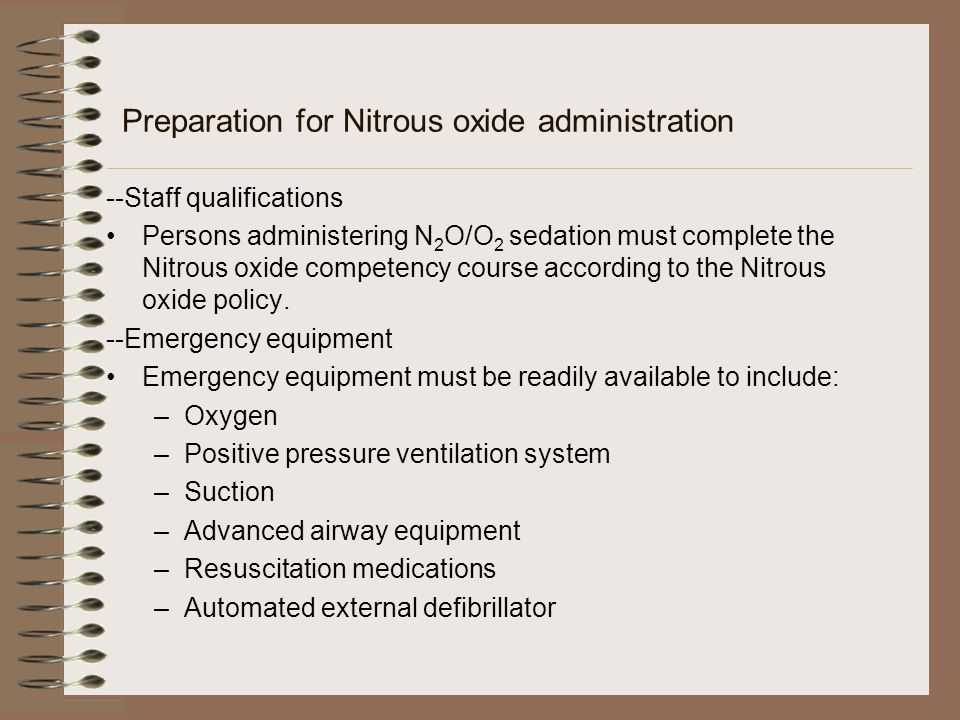 Preparation for Nitrous oxide administration