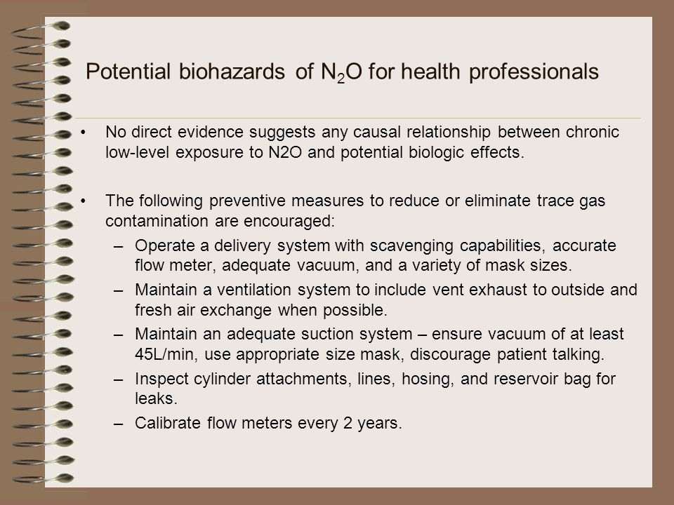 Potential biohazards of N2O for health professionals