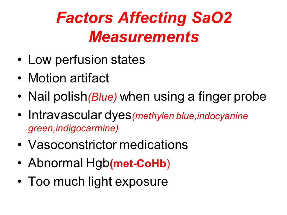 Factors Affecting SaO2 Measurements