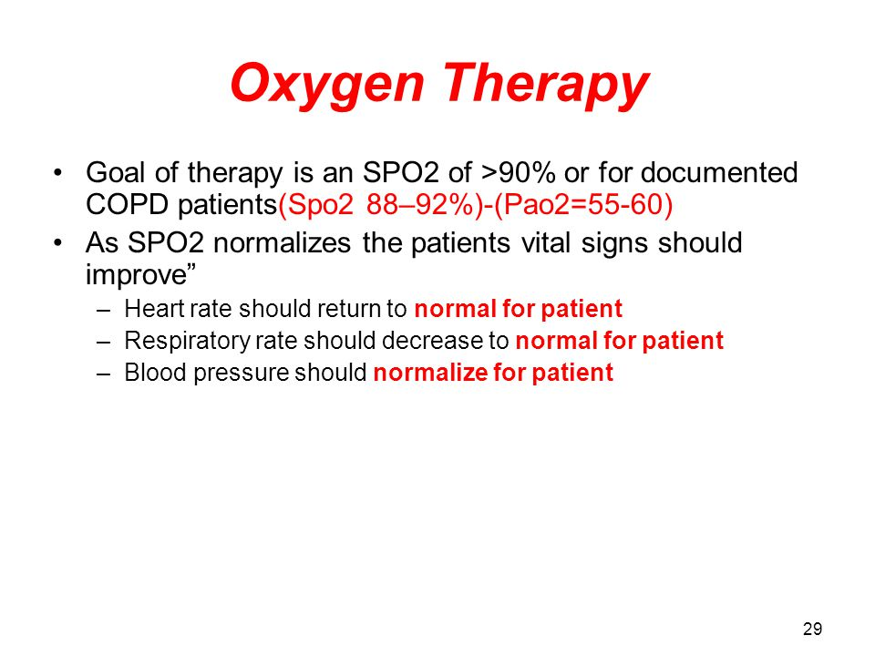 Oxygen Therapy Goal of therapy is an SPO2 of >90% or for documented COPD patients(Spo2 88–92%)-(Pao2=55-60)