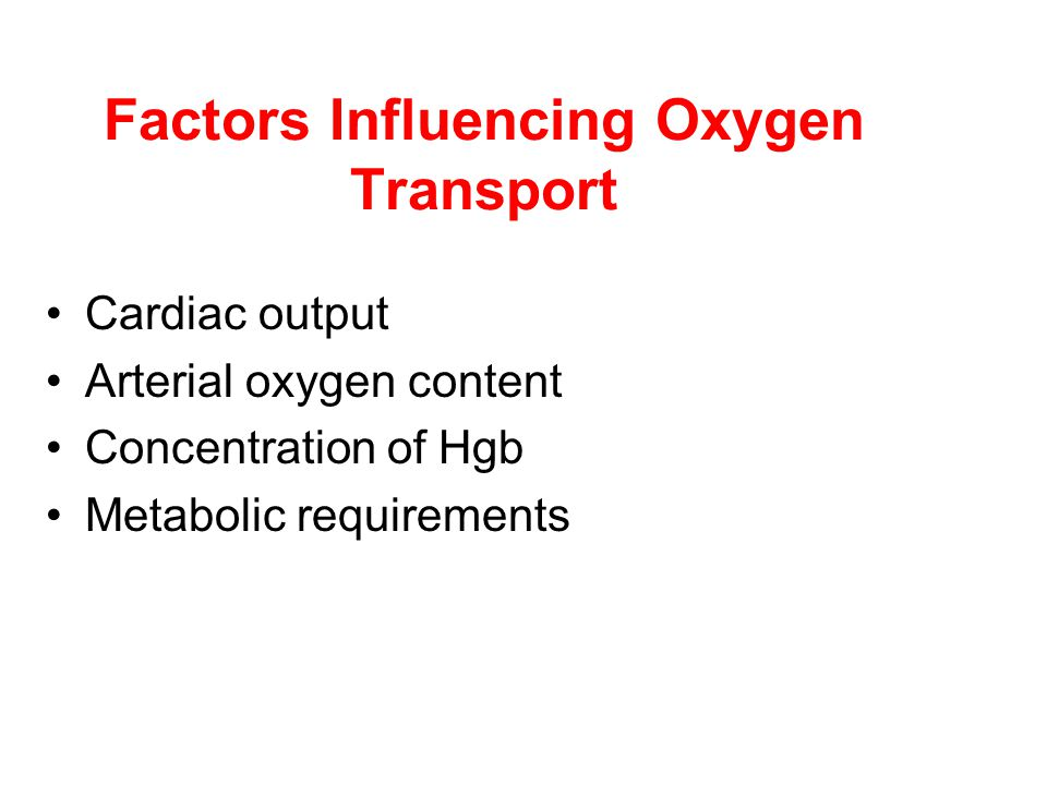 Factors Influencing Oxygen Transport