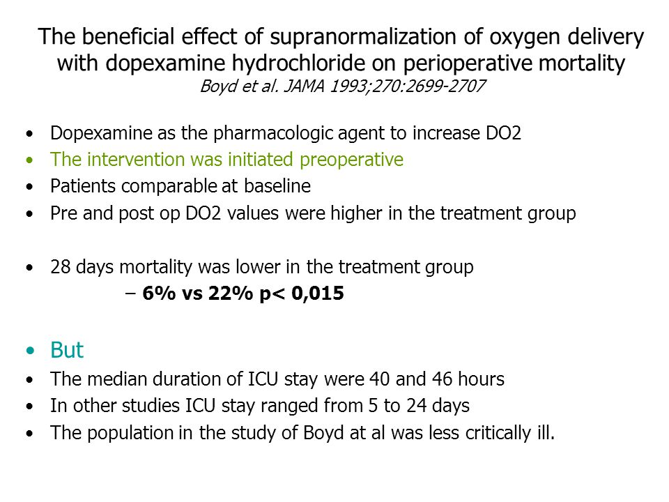 The beneficial effect of supranormalization of oxygen delivery with dopexamine hydrochloride on perioperative mortality Boyd et al. JAMA 1993;270:2699-2707