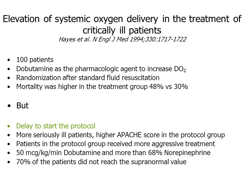 Elevation of systemic oxygen delivery in the treatment of critically ill patients Hayes et al. N Engl J Med 1994;330:1717-1722