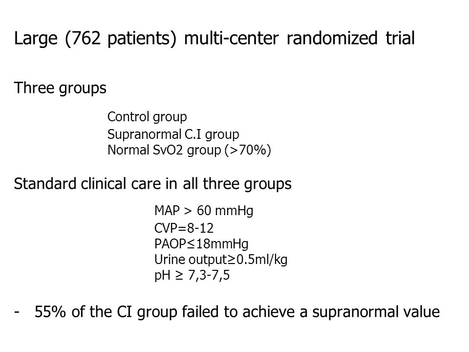 Control group MAP > 60 mmHg