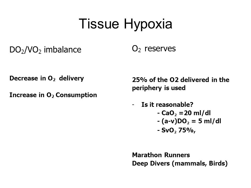 Tissue Hypoxia O2 reserves DO2/VO2 imbalance Decrease in O2 delivery