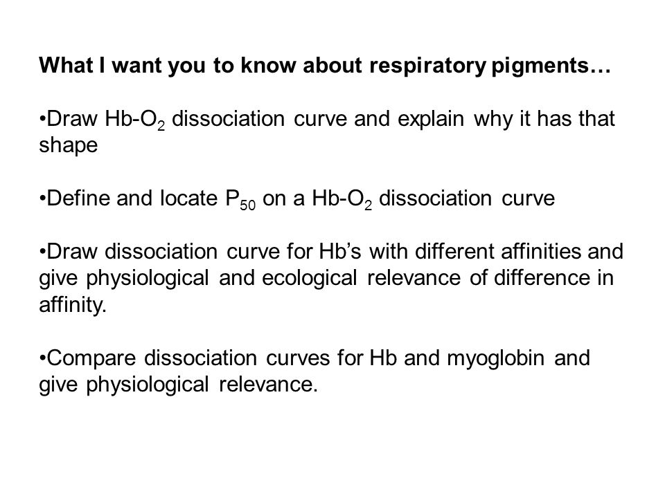 What I want you to know about respiratory pigments…