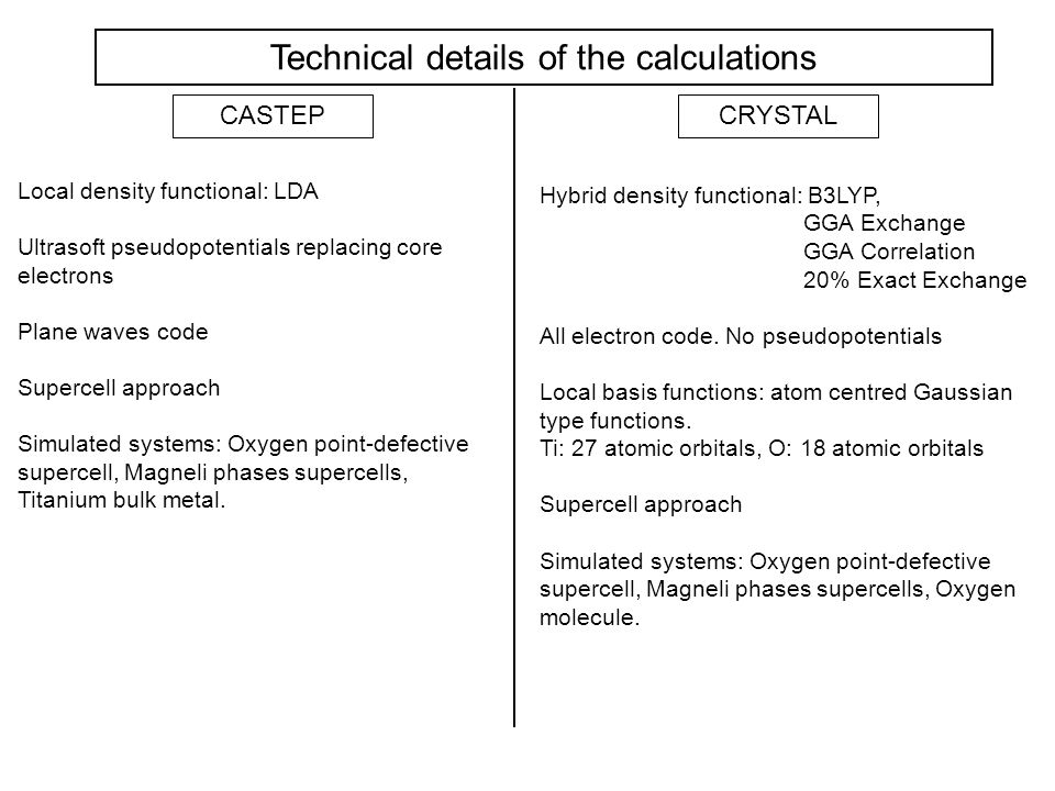 Technical details of the calculations