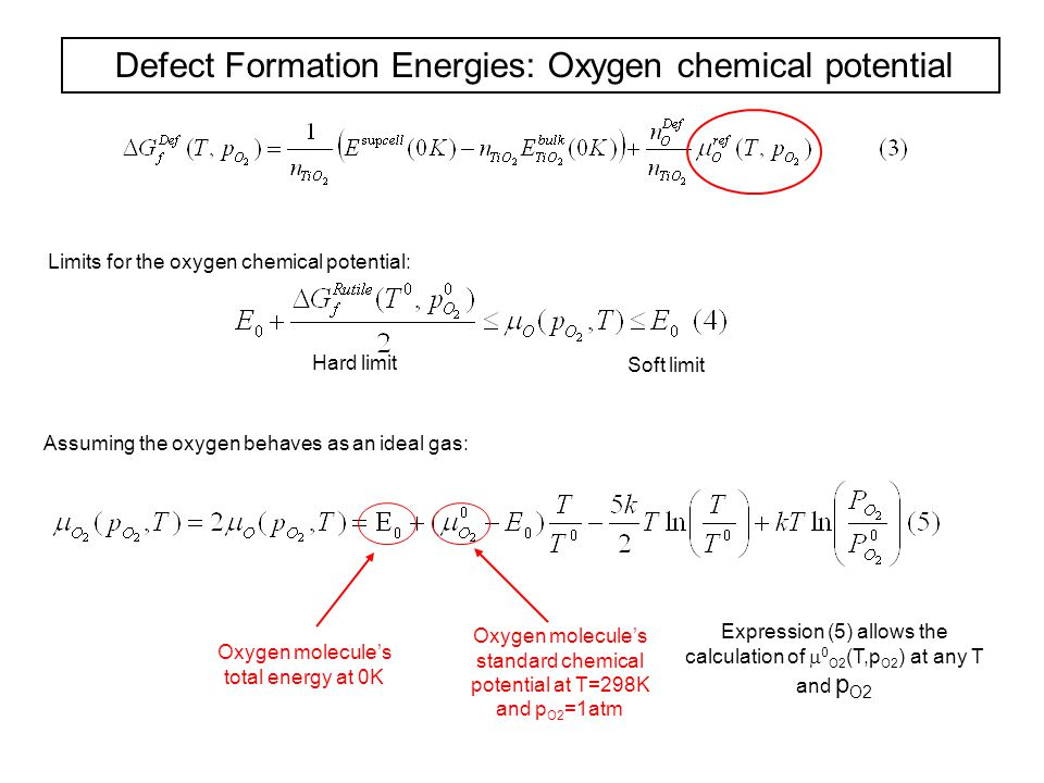 Defect Formation Energies: Oxygen chemical potential