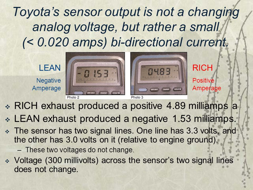 Toyota's sensor output is not a changing analog voltage, but rather a small (< 0.020 amps) bi-directional current.