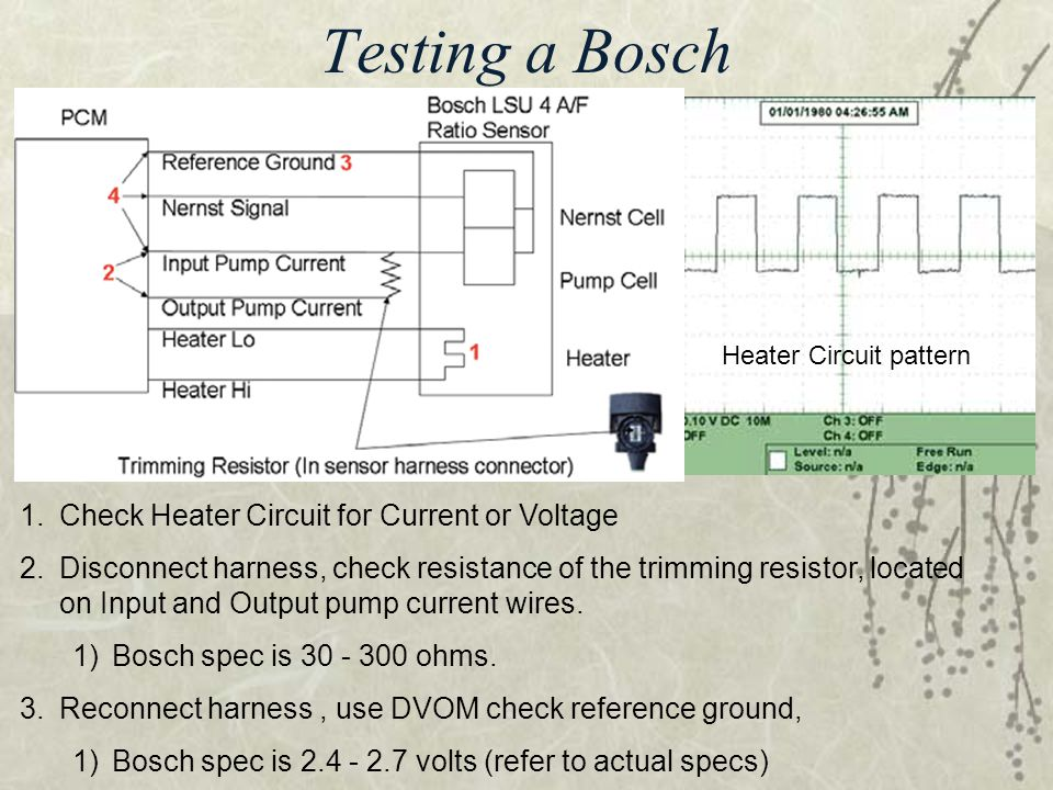 Testing a Bosch Check Heater Circuit for Current or Voltage
