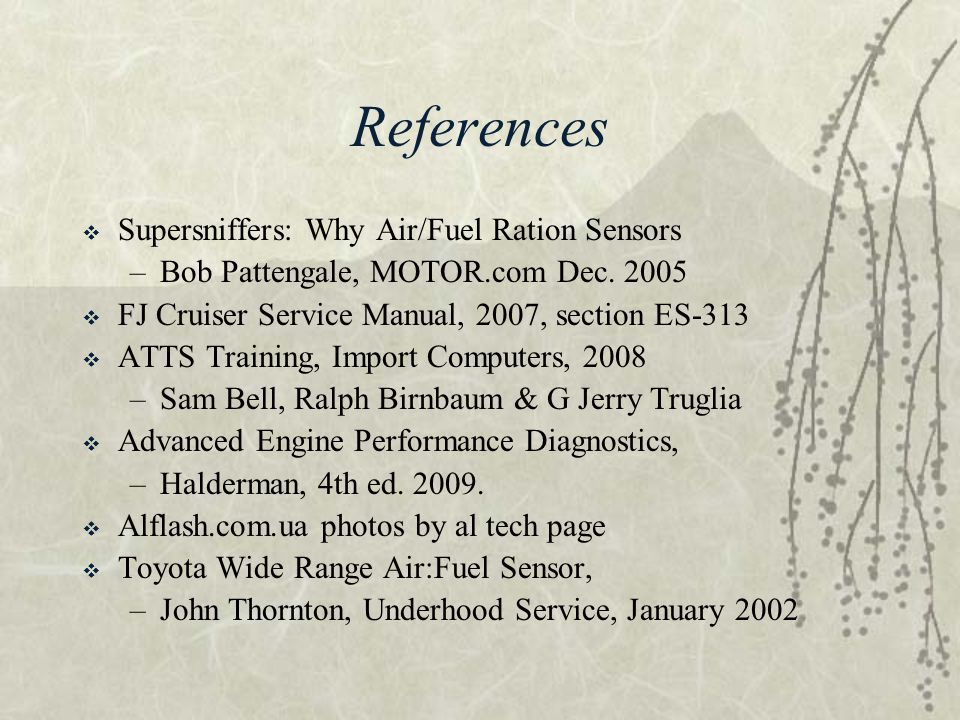 References Supersniffers: Why Air/Fuel Ration Sensors